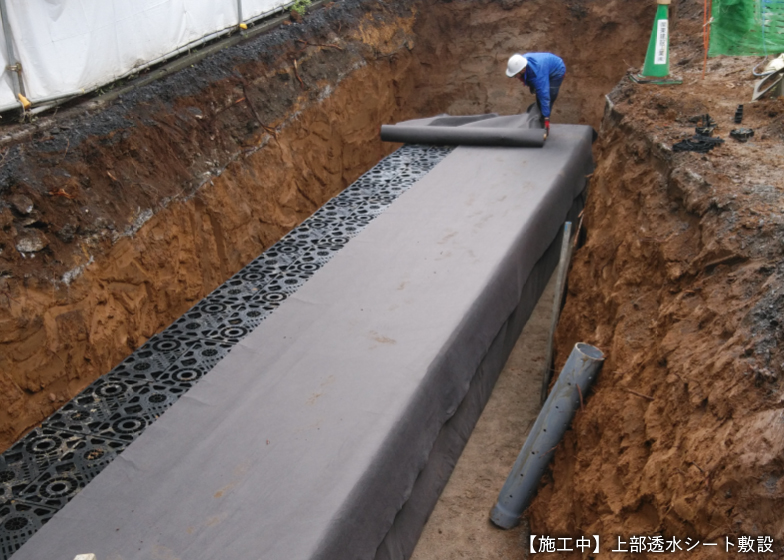 【施工中】上部浸水シート敷設