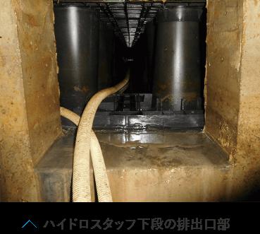 ハイドロスタッフ下段の排出口部